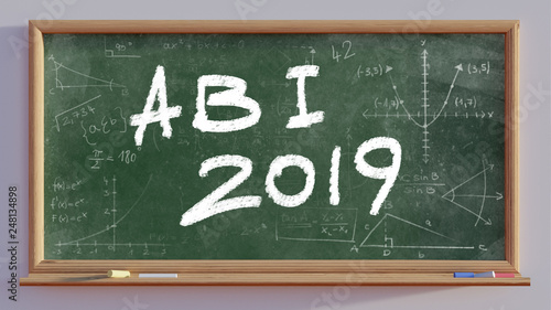 Photo 3D render of a blackboard with text Abi 2019