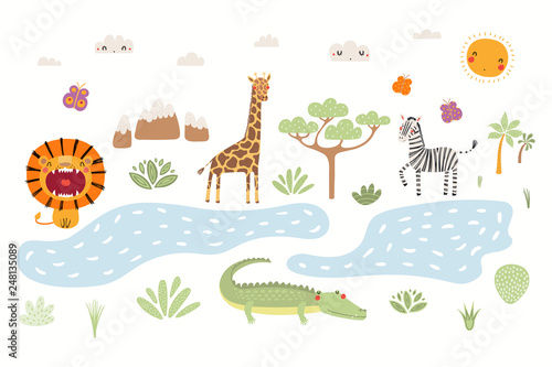 In de dag Illustraties Hand drawn vector illustration of cute animals lion, zebra, crocodile, giraffe, African landscape. Isolated objects on white background. Scandinavian style flat design. Concept for children print.