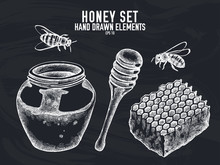 Vector Collection Of Hand Drawn Chalk Honey