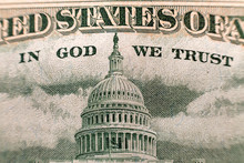 Back Reserve Side Detail Of American National Currency Banknote Dollars Bills. Symbol Of Wealth And Prosperity. In God We Trust Words.