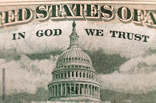 Fotografie, Tablou Back reserve side detail of American national currency banknote dollars bills