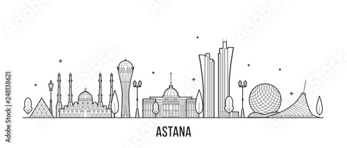 Astana skyline Kazakhstan city vector linear style Wallpaper Mural