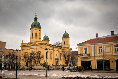Streets of Negotin, small place in east Serbia. Center of old town. Beautiful cloudy day. Town is known for production of wine.