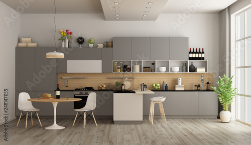 Fotografía  Modern kitchen with dining table