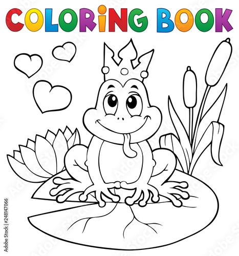 Wall Murals For Kids Coloring book frog with crown
