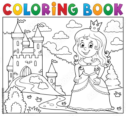 Wall Murals For Kids Coloring book princess topic image 1