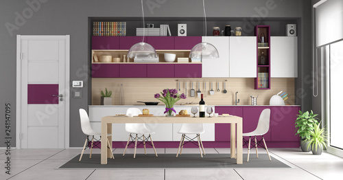 Foto  Modern white and purple kitchen