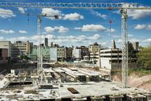 Cranes Over Construction Site