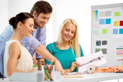 Fashion Design Tailoring And People Concept Team Of Fashion Designers With Sketch Working At Office Buy This Stock Photo And Explore Similar Images At Adobe Stock Adobe Stock