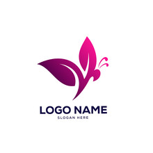 Butterfly Logo Designs Template, Nature Leaves Logo Designs