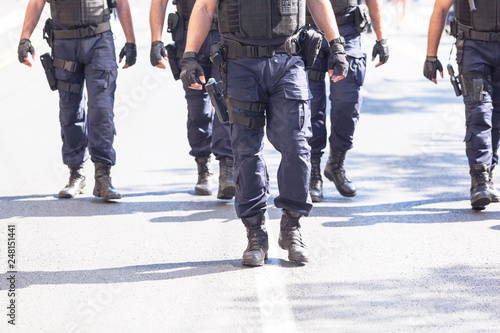 Vászonkép Armed police patrol