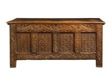 Trunk Chest Old Medievil Oak Carved Coffer