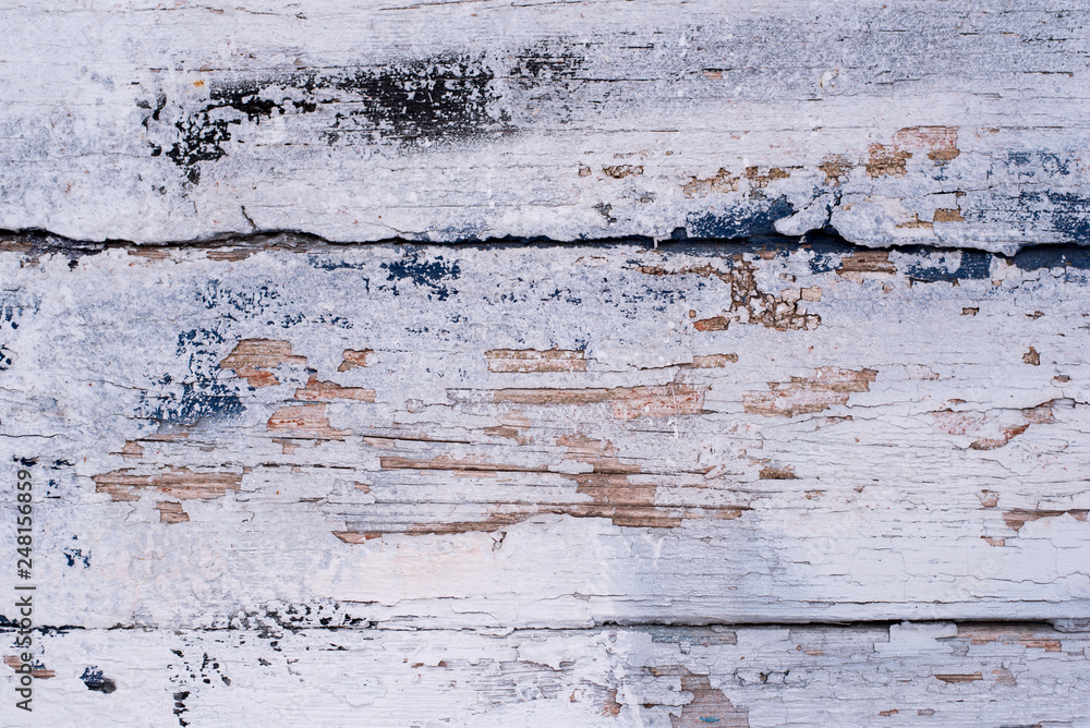 old painted blue wood board, copy paste space