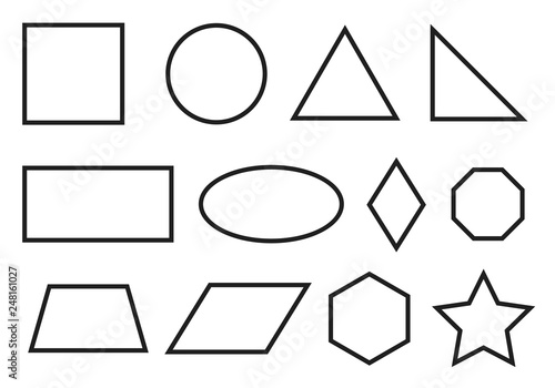 Fotografie, Obraz  Simple geometry shapes set. Geometric primitives icons.