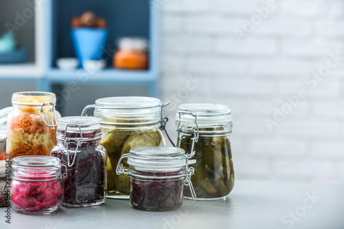 In de dag Apotheek Assortment of tasty fermented vegetables on table in kitchen