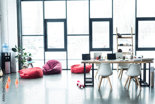 Loft Office With Bean Bag Chairs