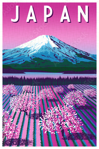 Plakaty do gabinetu romantic-rural-landscape-in-spring-day-in-japan-handmade-drawing-vector-illustration
