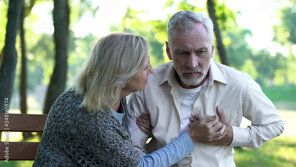 Fototapeta Healthcare, pensioner suffering from strong chest pain, heart attack risk