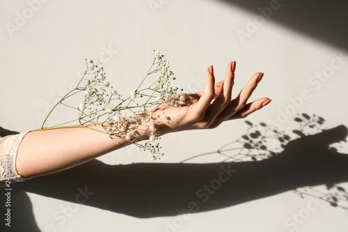 Female hand with white flowers on light background