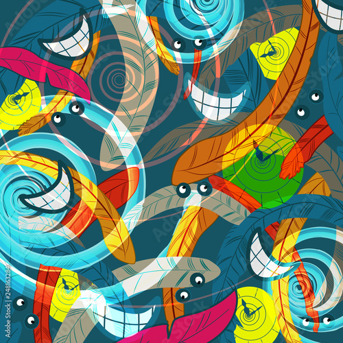 Foto auf AluDibond Graffiti abstract madness and time rush background
