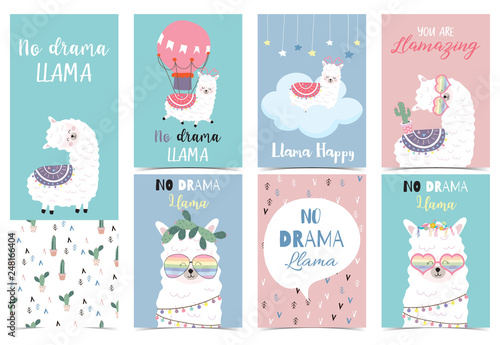 3f471050b Blue pink hand drawn cute card with llama, star ,glasses,cactus and balloon