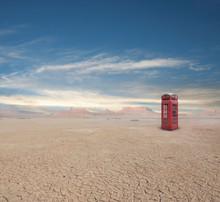 Telephone Box In Desert