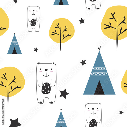 Photo sur Aluminium Retro sign cute seamless kids pattern