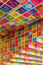 Colorful Building Detail Squares With Coloured Symbols