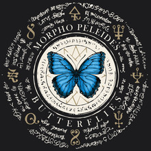 Illustration Of A Morpho Peleides Butterfly With Blue Wings On An Old Abstract Background With Magical Inscriptions And Symbols. Vector Banner In Retro Style On The Black Background
