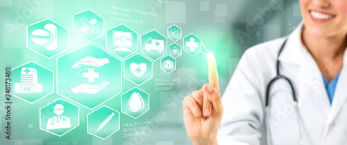 Photo sur Aluminium Pharmacie Medical Healthcare Concept - Doctor in hospital with digital medical icons graphic banner showing symbol of medicine, medical care people, emergency service network, doctor data of patient health.