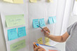 Woman hand holding pen point at sticky note on white board