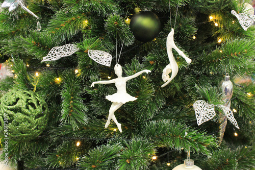 Christmas Tree Ornament Close Up View With Ballet Dancer Figure