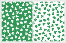 St Patrick Day Seamless Vector Patterns. Green Clover On A White Background. White Clover On A Green. Simple Repeatable Design. Cute Irregular Pattern. Set Of 2 Clovers Prints. Irish Symbol Of Luck.