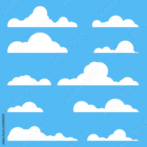 Foto op Plexiglas Hemel Flat style realistic clouds silhouette. White cluds set. Cartoon style number of clouds.