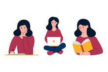 Girl Studying Vector Illustration. Writing, Working On Laptop, Reading. Education Concept
