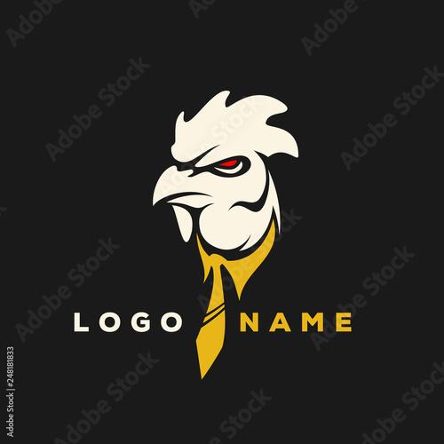 Rooster Logo Designs Concept, Chicken Head Mascot Logo Designs Fototapet