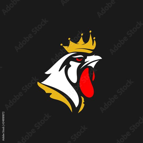 Fotografie, Tablou  Rooster Logo Designs Concept, Chicken Head Mascot Logo Designs