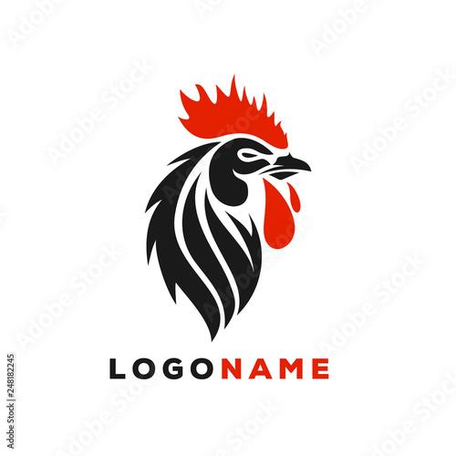 Cuadros en Lienzo Rooster Logo Designs Concept, Chicken Head Mascot Logo Designs