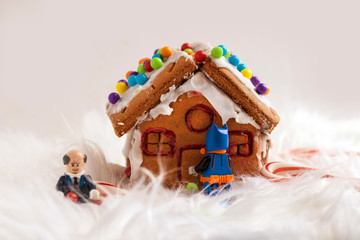 Gingerbread House with lego people.