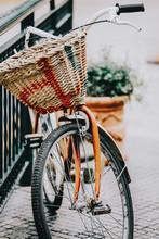 Orange Bike Parked