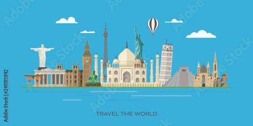 Foto  World landmarks travel vector illustration