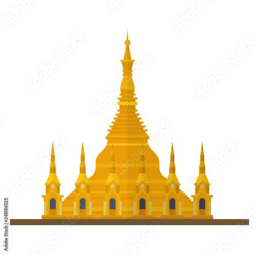 Valokuvatapetti Shwedagon Pagoda, Myanmar, flat design vector Icon