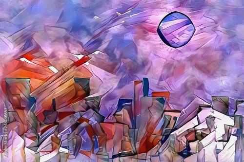 Plakat abstrakcyjny  fairy-mountains