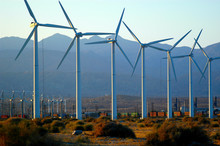 Clean Energy Generated By Wind Turbines In Palm Springs, California.