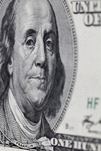 fragment of old 100 dollar bill - Buy this stock photo and
