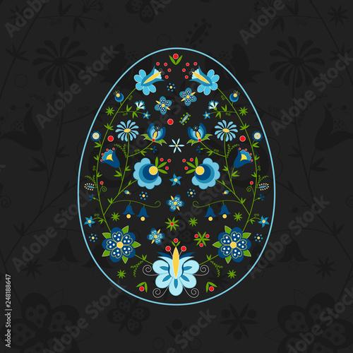 Polski folklor kaszubski w kształcie jajka - Wielkanoc