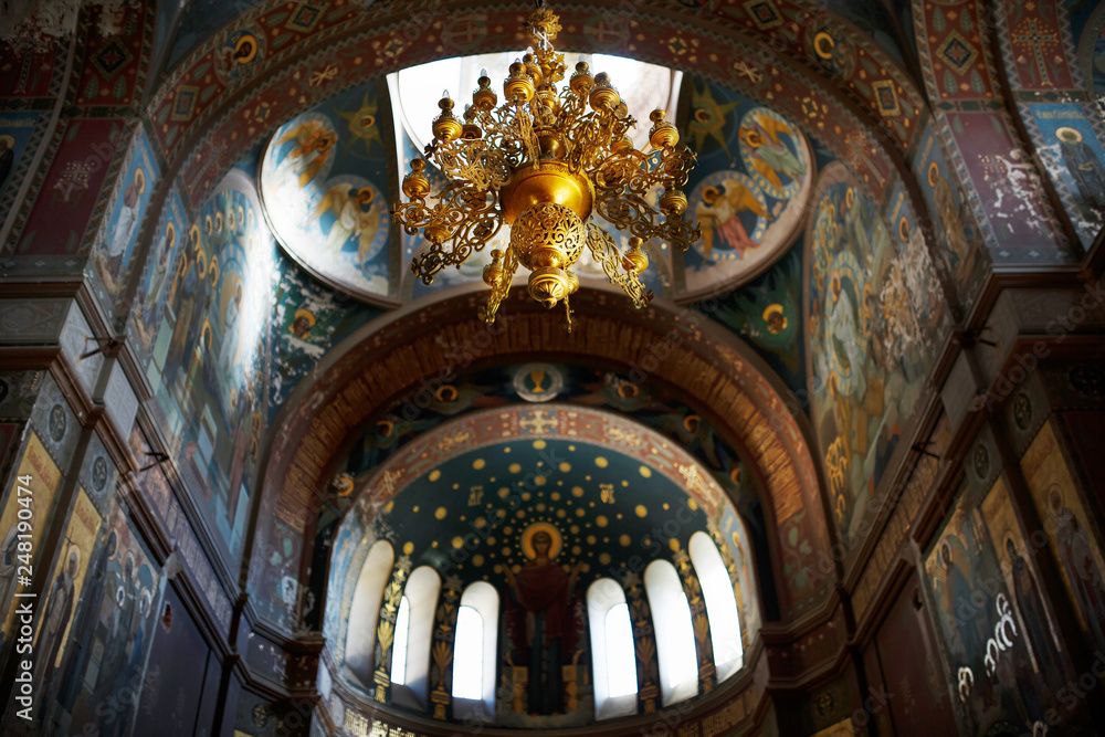 Fototapety, obrazy: New Athos, Abkhazia Georgia Beautiful interior and dark painted frescoes of Novy Afon orthodox monastery, Abkhazia