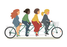 Four Women Riding Tandem Bicycle Together.