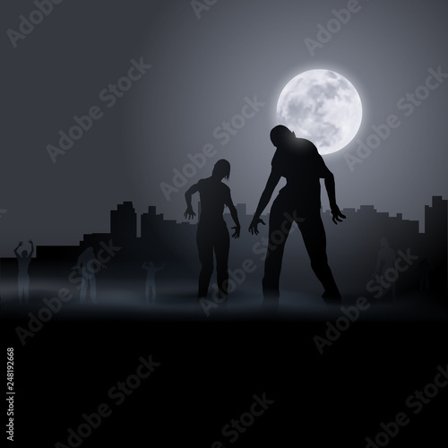 Photo  Zombie Walking out From Abandoned City at Night