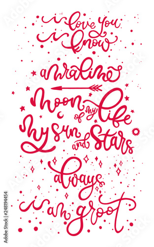 Love movie and romantic lines. Cartel tipográfico. Amor. Canvas Print